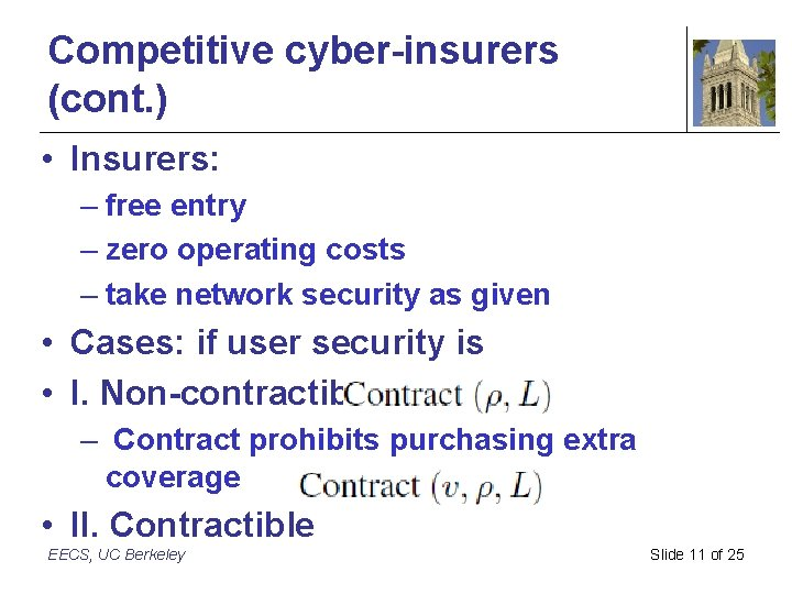 Competitive cyber-insurers (cont. ) • Insurers: – free entry – zero operating costs –