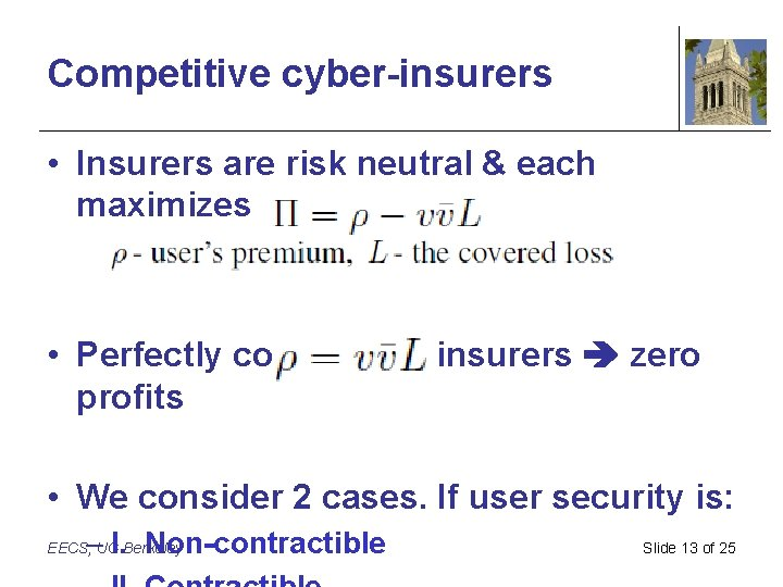 Competitive cyber-insurers • Insurers are risk neutral & each maximizes his profit • Perfectly