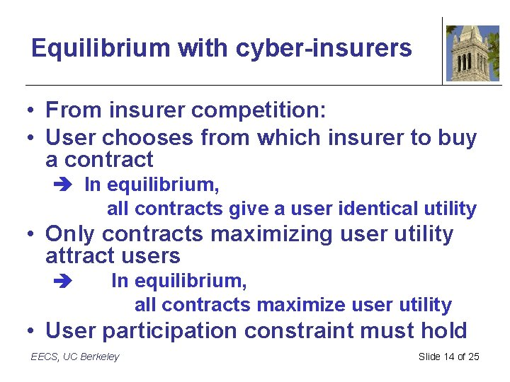 Equilibrium with cyber-insurers • From insurer competition: • User chooses from which insurer to