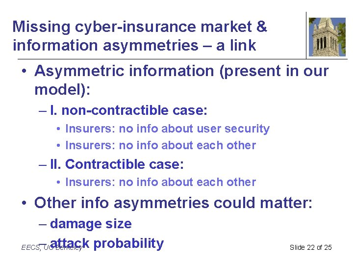 Missing cyber-insurance market & information asymmetries – a link • Asymmetric information (present in