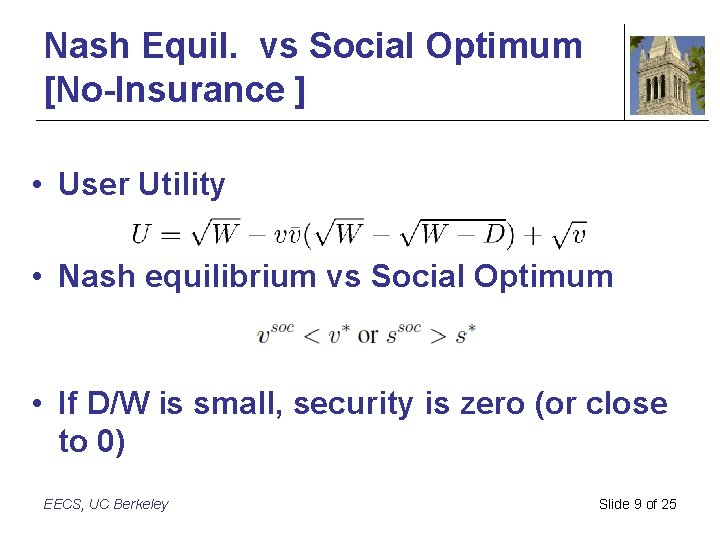 Nash Equil. vs Social Optimum [No-Insurance ] • User Utility • Nash equilibrium vs