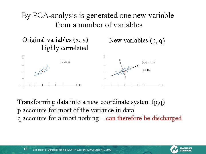 By PCA-analysis is generated one new variable from a number of variables Original variables