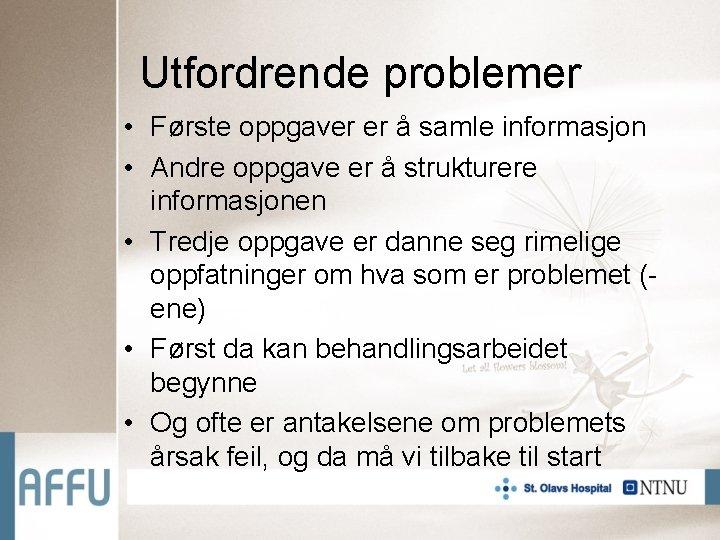 Utfordrende problemer • Første oppgaver er å samle informasjon • Andre oppgave er å