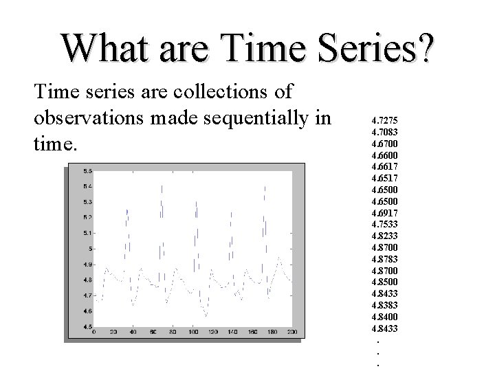 What are Time Series? Time series are collections of observations made sequentially in time.
