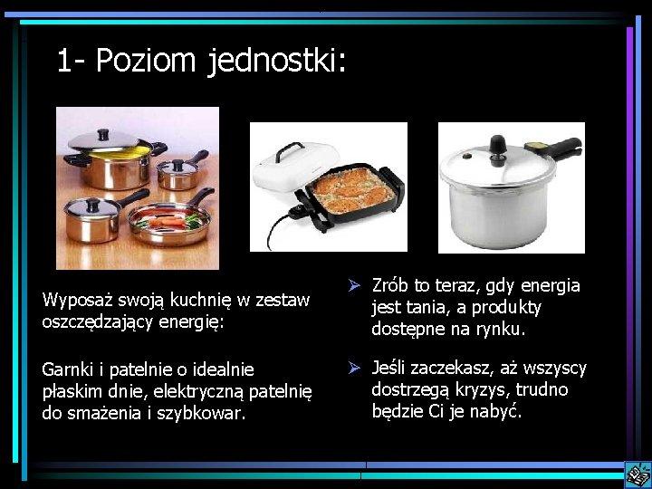 1 - Poziom jednostki: Wyposaż swoją kuchnię w zestaw oszczędzający energię: Ø Zrób to