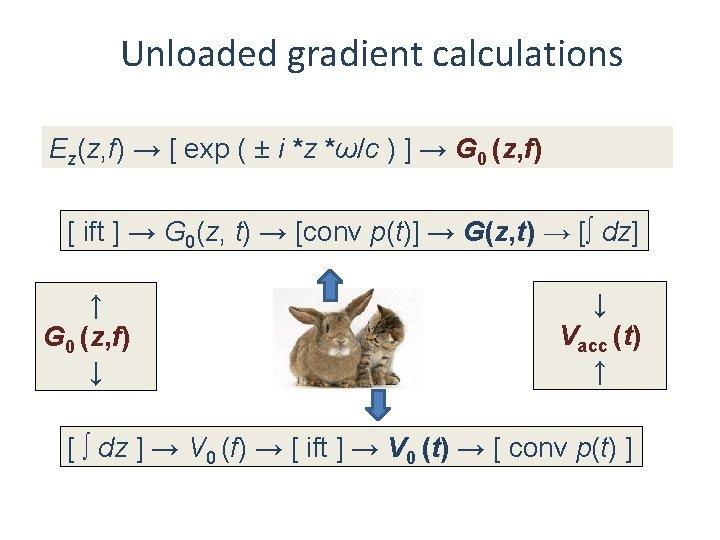 Unloaded gradient calculations Ez(z, f) → [ exp ( ± i *z *ω/c )