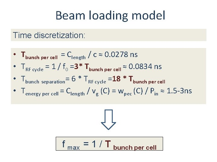Beam loading model Time discretization: • • Tbunch per cell = Clength / c