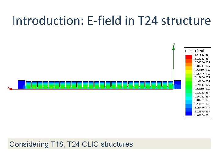 Introduction: E-field in T 24 structure Considering T 18, T 24 CLIC structures