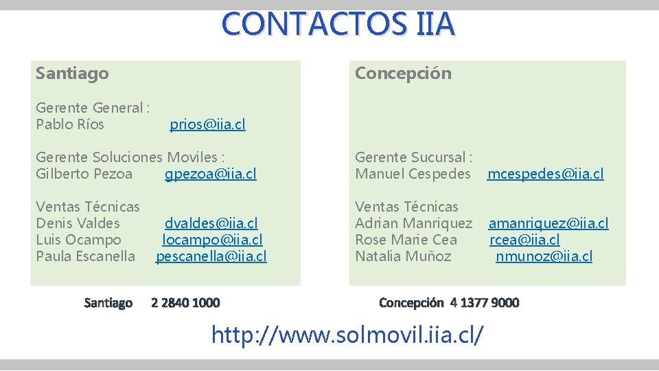 CONTACTOS IIA Santiago Concepción Gerente General : Pablo Ríos prios@iia. cl Gerente Soluciones Moviles
