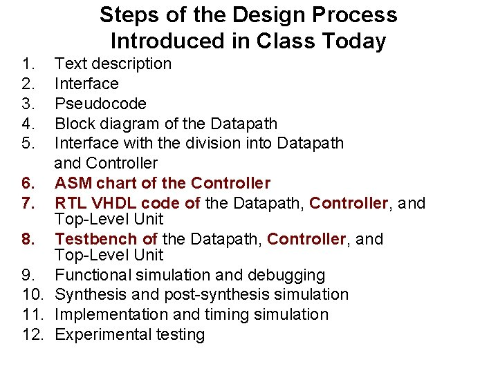 Steps of the Design Process Introduced in Class Today 1. 2. 3. 4. 5.
