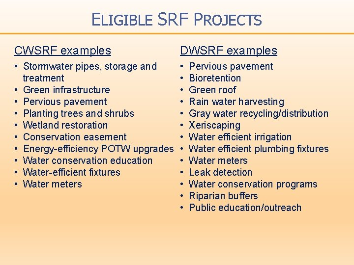 ELIGIBLE SRF PROJECTS CWSRF examples DWSRF examples • Stormwater pipes, storage and treatment •