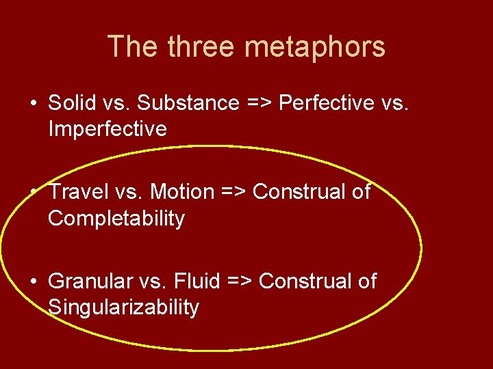 The three metaphors • Solid vs. Substance => Perfective vs. Imperfective • Travel vs.