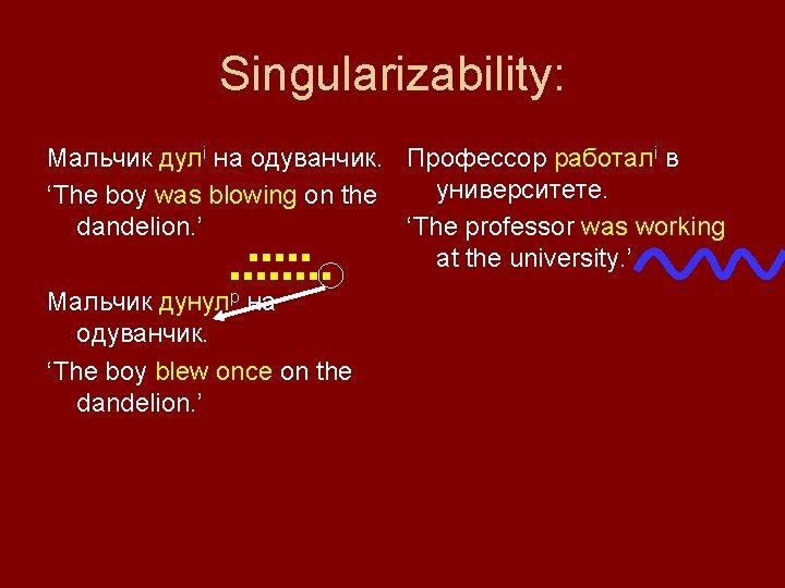 Singularizability: Мальчик дулi на одуванчик. Профессор работалi в университете. 'The boy was blowing on