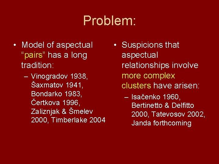 "Problem: • Model of aspectual ""pairs"" has a long tradition: – Vinogradov 1938, Šaxmatov"