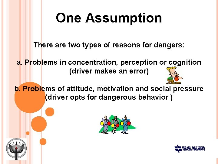 One Assumption There are two types of reasons for dangers: a. Problems in concentration,