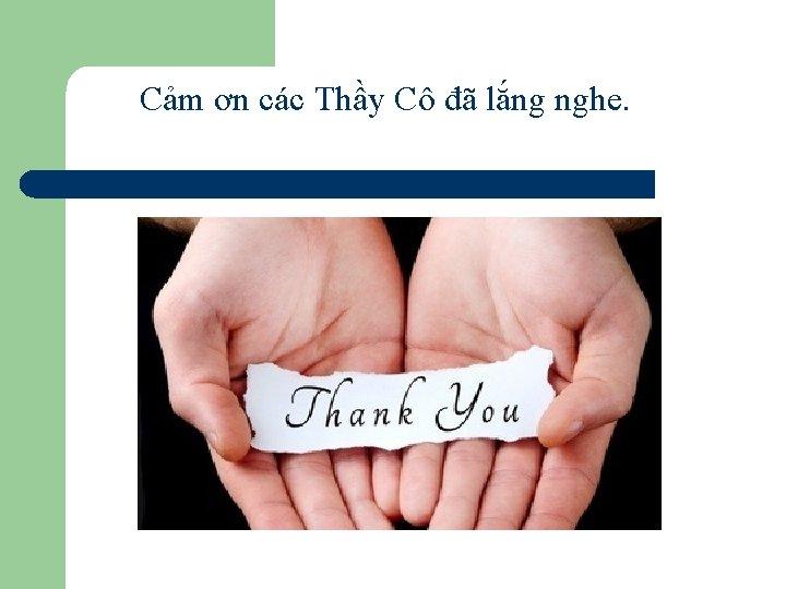 Cảm ơn các Thầy Cô đã lắng nghe.