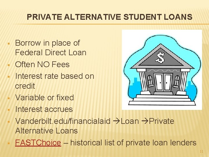PRIVATE ALTERNATIVE STUDENT LOANS § § § § Borrow in place of Federal Direct
