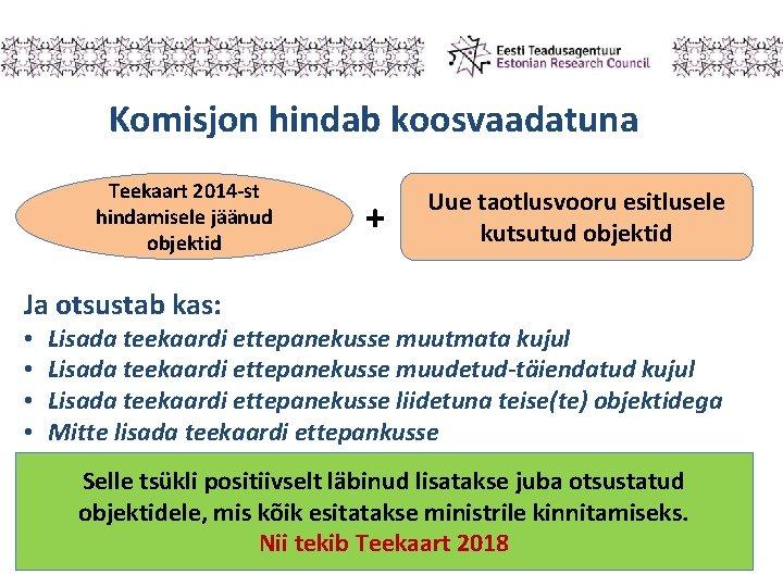 Komisjon hindab koosvaadatuna Teekaart 2014 -st hindamisele jäänud objektid + Uue taotlusvooru esitlusele kutsutud
