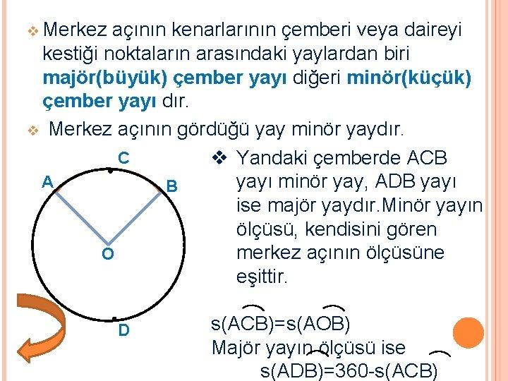 v Merkez açının kenarlarının çemberi veya daireyi kestiği noktaların arasındaki yaylardan biri majör(büyük) çember