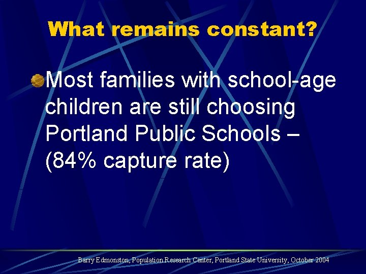 What remains constant? Most families with school-age children are still choosing Portland Public Schools