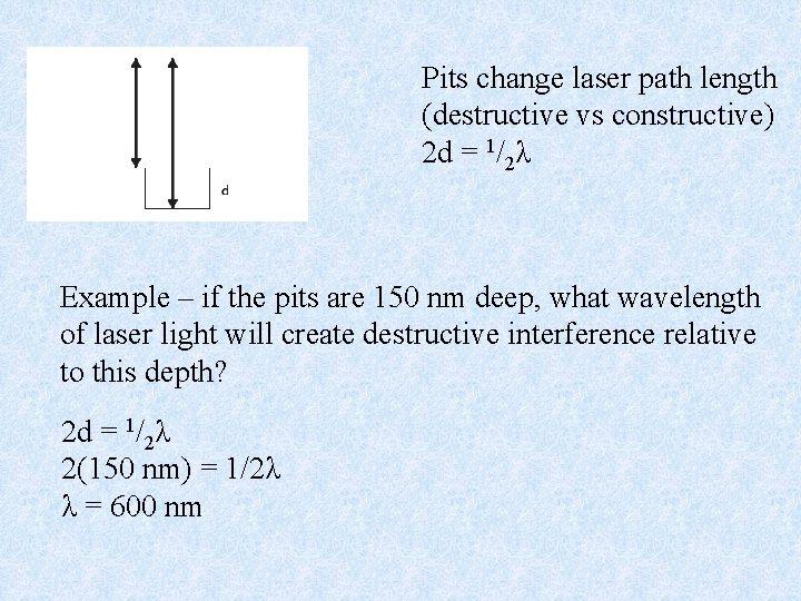 Pits change laser path length (destructive vs constructive) 2 d = 1/2λ Example –