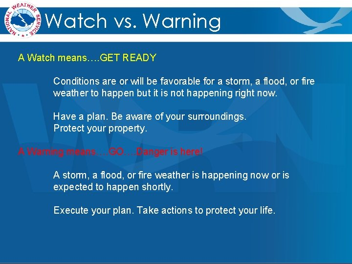 Watch vs. Warning A Watch means…. GET READY Conditions are or will be favorable