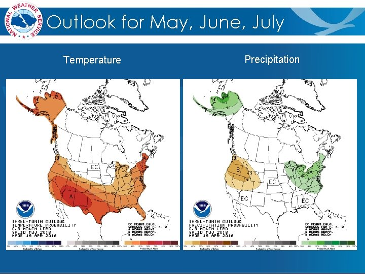 Outlook for May, June, July Temperature Precipitation