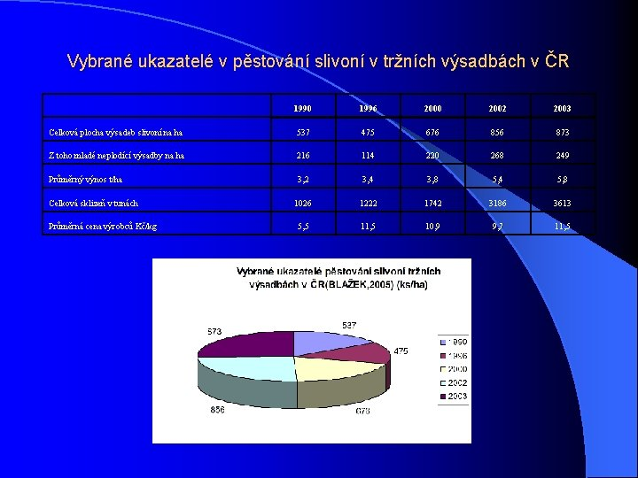 Vybrané ukazatelé v pěstování slivoní v tržních výsadbách v ČR 1990 1996 2000 2002