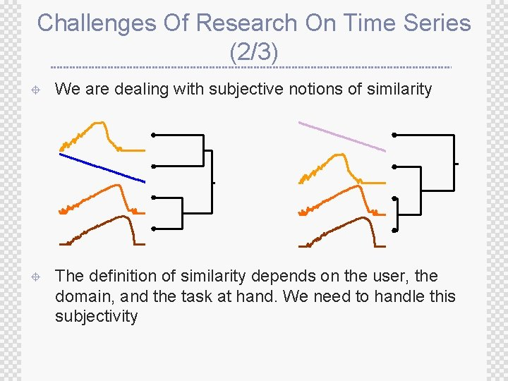 Challenges Of Research On Time Series (2/3) ± We are dealing with subjective notions