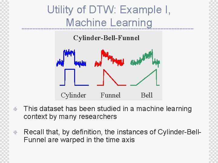 Utility of DTW: Example I, Machine Learning Cylinder-Bell-Funnel Cylinder Funnel Bell ± This dataset