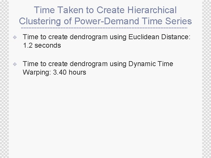 Time Taken to Create Hierarchical Clustering of Power-Demand Time Series ± Time to create
