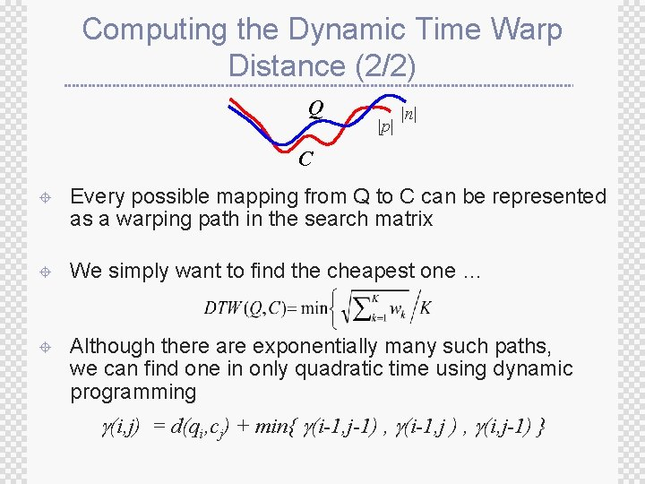 Computing the Dynamic Time Warp Distance (2/2) Q  p   n  C ± Every possible