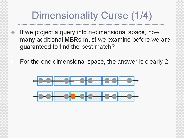 Dimensionality Curse (1/4) ± If we project a query into n-dimensional space, how many