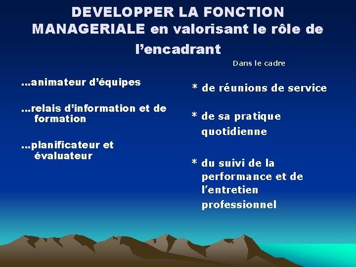 DEVELOPPER LA FONCTION MANAGERIALE en valorisant le rôle de l'encadrant Dans le cadre …animateur