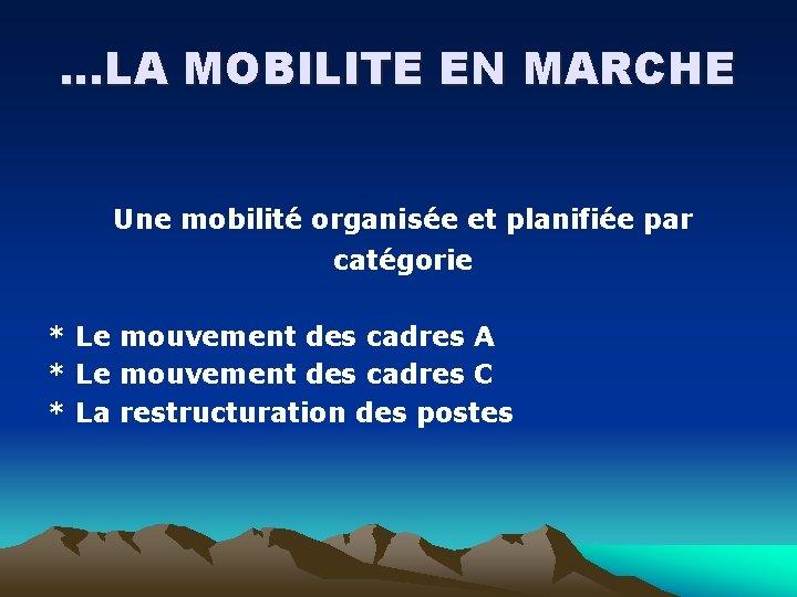 …LA MOBILITE EN MARCHE Une mobilité organisée et planifiée par catégorie * Le mouvement
