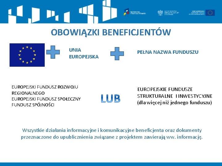 OBOWIĄZKI BENEFICJENTÓW SYMBOL UE UNIA EUROPEJSKI FUNDUSZ ROZWOJU REGIONALNEGO EUROPEJSKI FUNDUSZ SPOŁECZNY FUNDUSZ SPÓJNOŚCI
