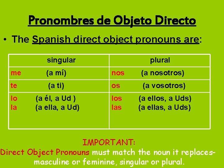 Pronombres de Objeto Directo • The Spanish direct object pronouns are: singular plural me