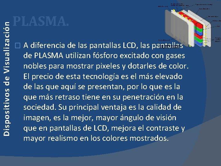 Dispositivos de Visualización PLASMA. � A diferencia de las pantallas LCD, las pantallas de