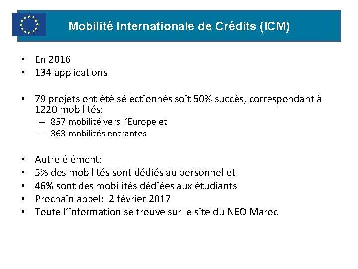 Mobilité Internationale de Crédits (ICM) • En 2016 • 134 applications • 79 projets