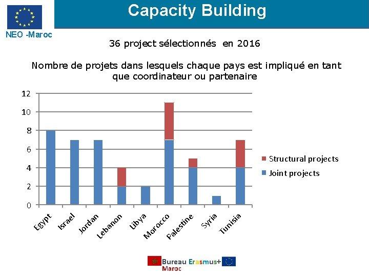 Capacity Building NEO -Maroc 36 project sélectionnés en 2016 Nombre de projets dans lesquels