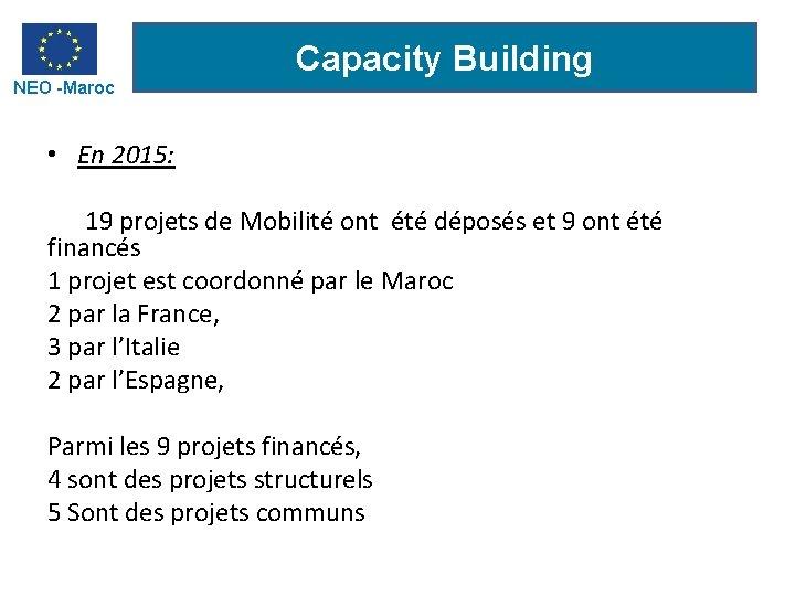 NEO -Maroc Capacity Building • En 2015: 19 projets de Mobilité ont été déposés
