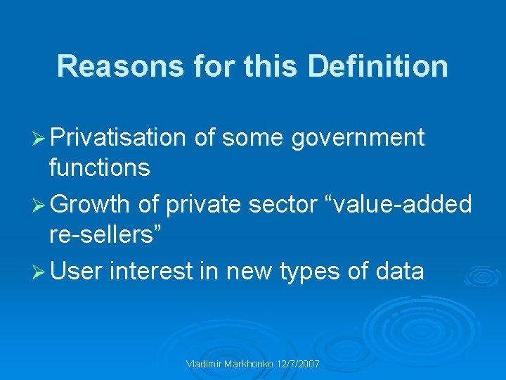 Reasons for this Definition Ø Privatisation of some government functions Ø Growth of private