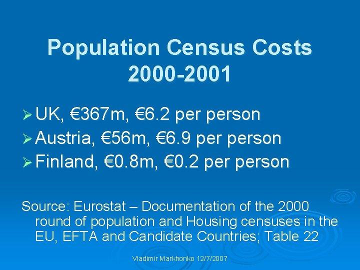 Population Census Costs 2000 -2001 Ø UK, € 367 m, € 6. 2 person