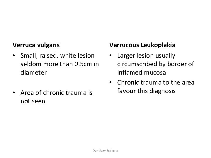 Verruca vulgaris Verrucous Leukoplakia • Small, raised, white lesion seldom more than 0. 5