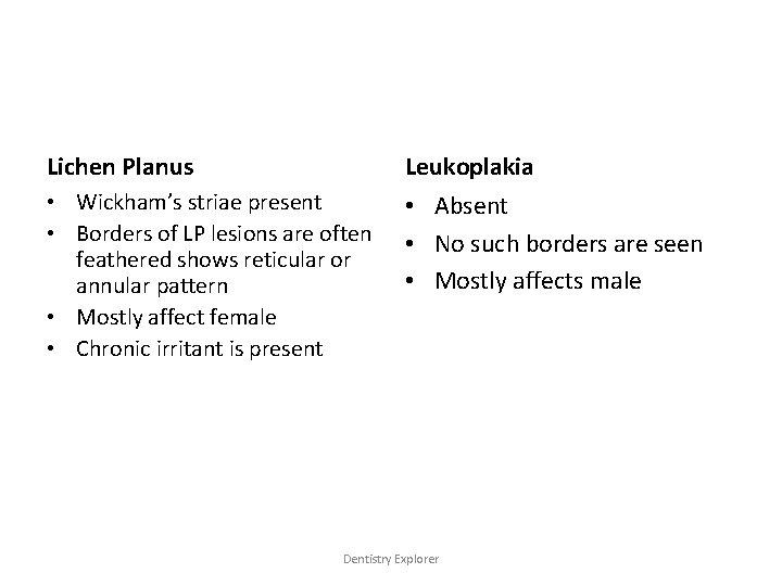 Lichen Planus Leukoplakia • Wickham's striae present • Borders of LP lesions are often