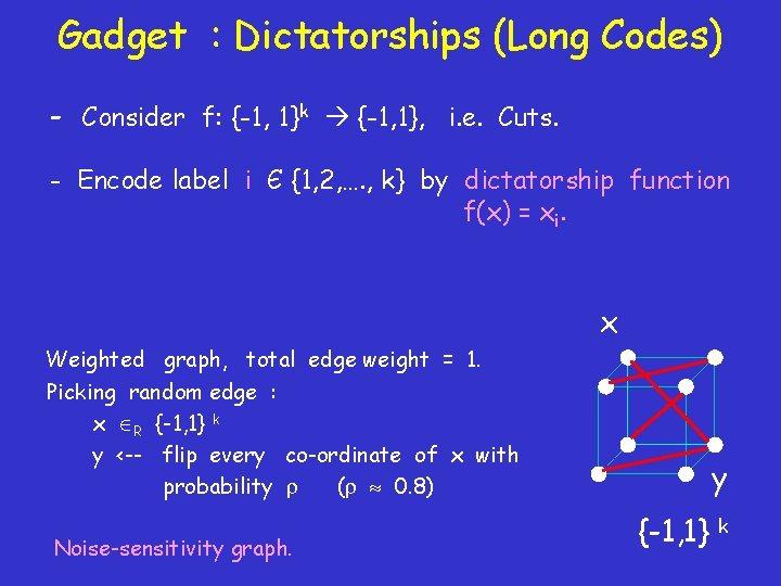 Gadget : Dictatorships (Long Codes) - Consider f: {-1, 1}k {-1, 1}, i. e.