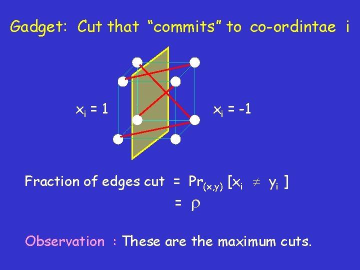 "Gadget: Cut that ""commits"" to co-ordintae i xi = 1 xi = -1 Fraction"