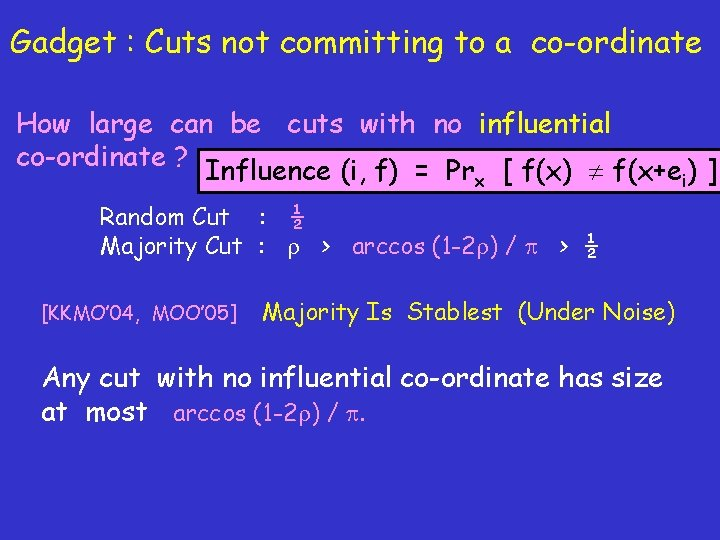 Gadget : Cuts not committing to a co-ordinate How large can be cuts with