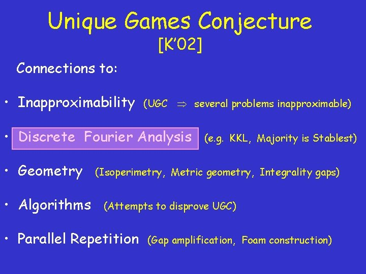 Unique Games Conjecture [K' 02] Connections to: • Inapproximability (UGC several problems inapproximable) •