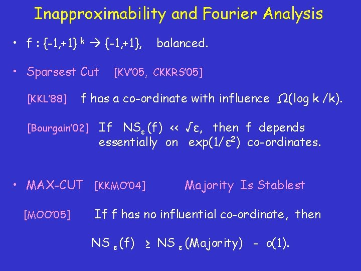 Inapproximability and Fourier Analysis • f : {-1, +1} k {-1, +1}, • Sparsest